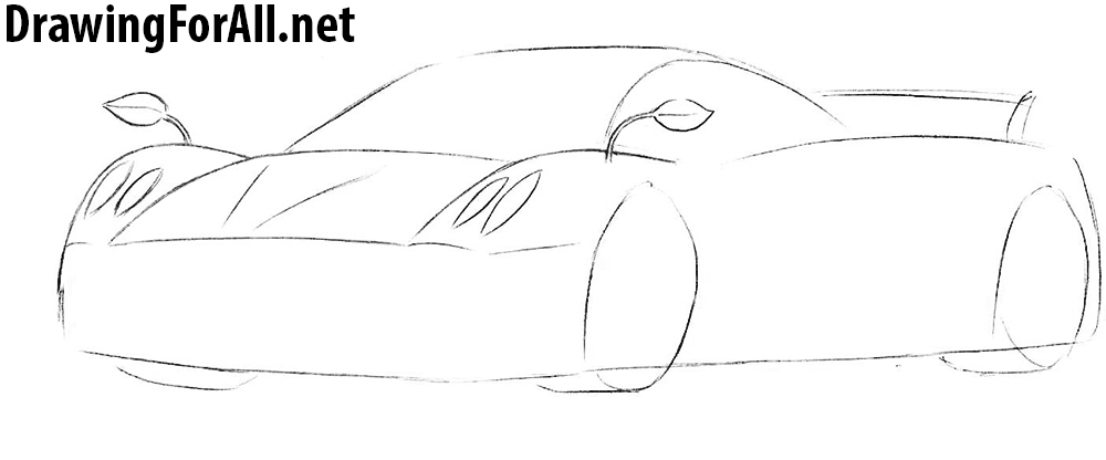 pagani huayra drawing tutorial