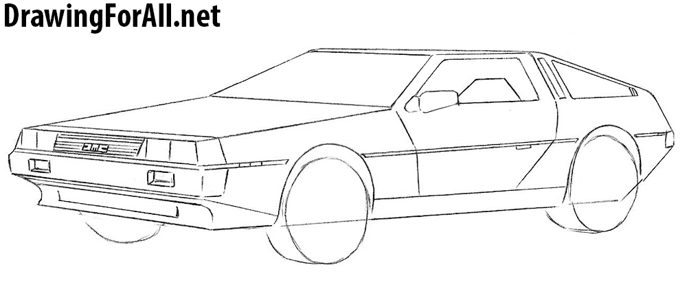how to draw a delorean
