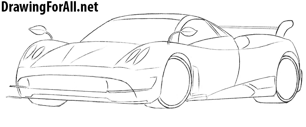 how to draw a pagani huayra sport car