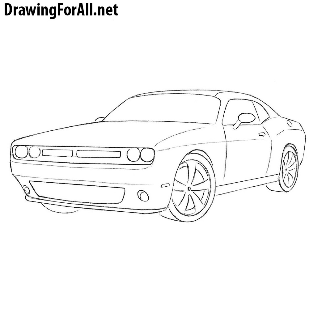 how to draw a dodge challenger | drawingforall