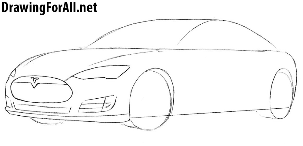 how to draw a tesla car
