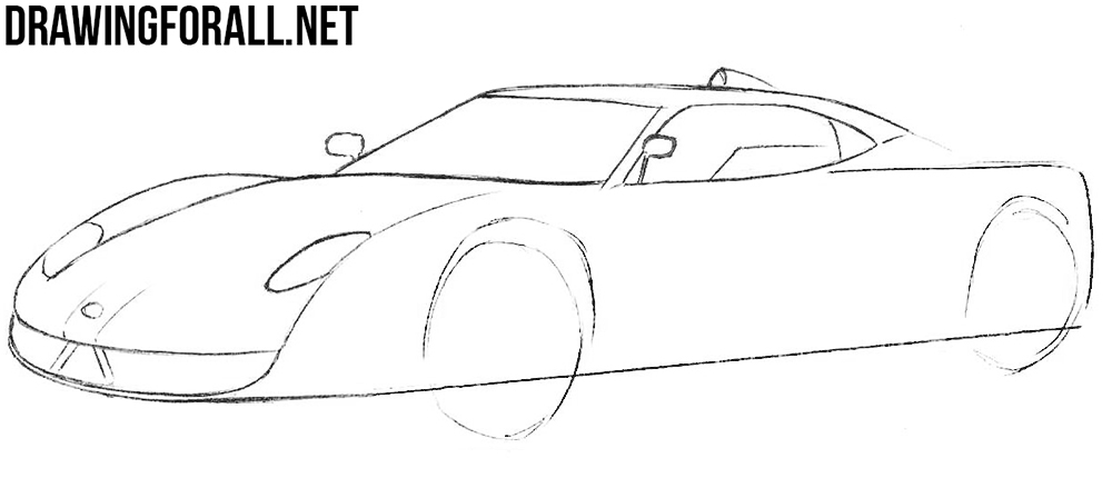 how to draw a spyker sport car