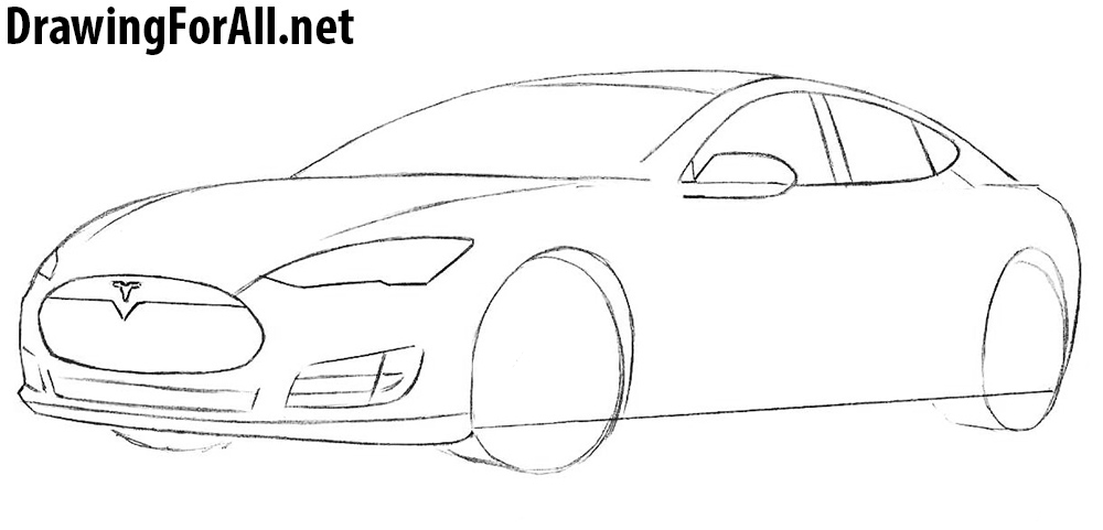 tesla model s drawing lesson