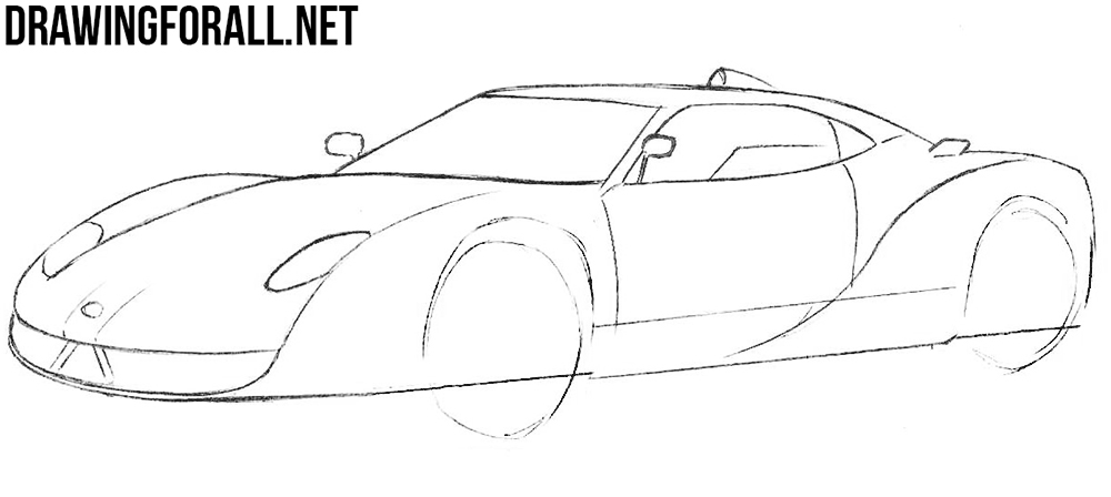 how to draw a spyker c12 step by step