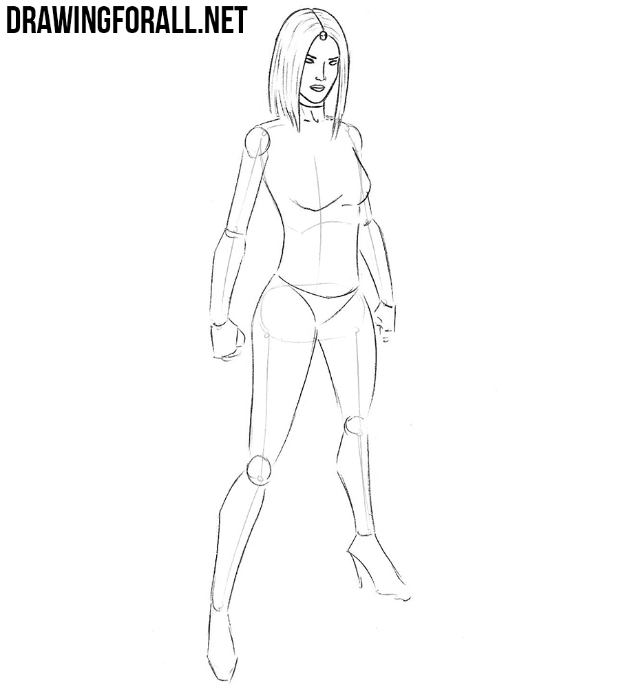 how to draw mystique step by step with a pencil