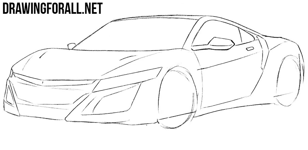 learn how to draw a Honda nsx step by step