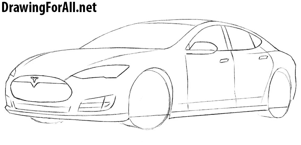 learn to draw a tesla model s