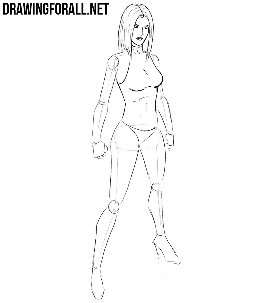 how to draw mystique step by step