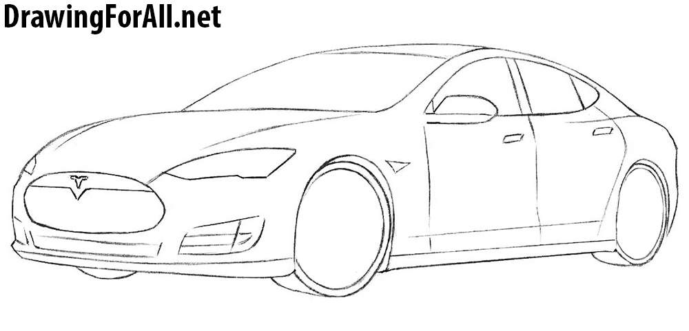 learn how to draw a tesla model s