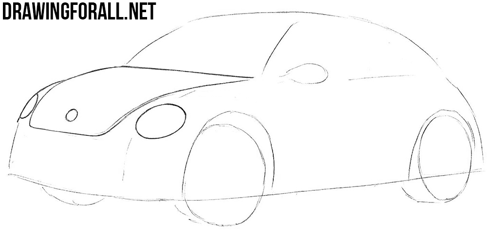 how to draw a volkswagen beetle step by step