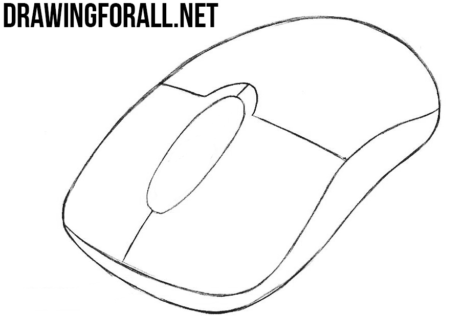 learn how to draw a computer mouse with a pencil