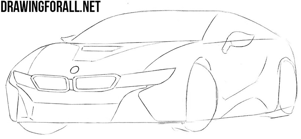how to draw a bmw i8 hybrid