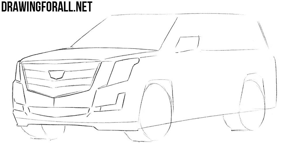 learn how to draw a Cadillac Escalade with a pencil