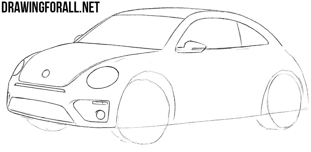 learn how to draw a volkswagen beetle with a pencil