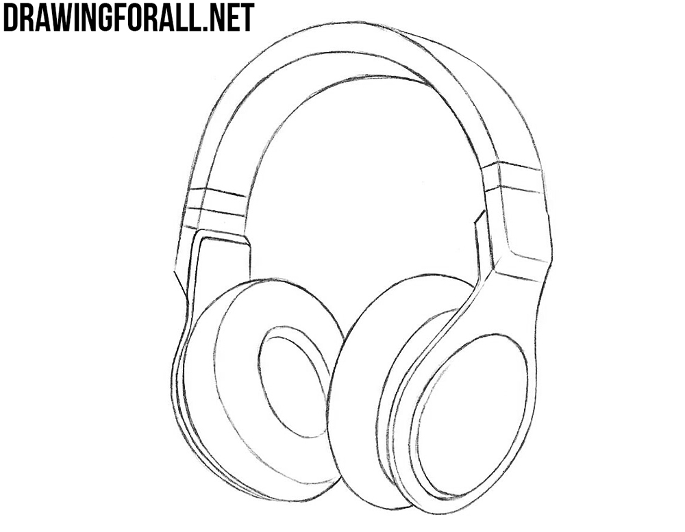 realistic headphones drawing