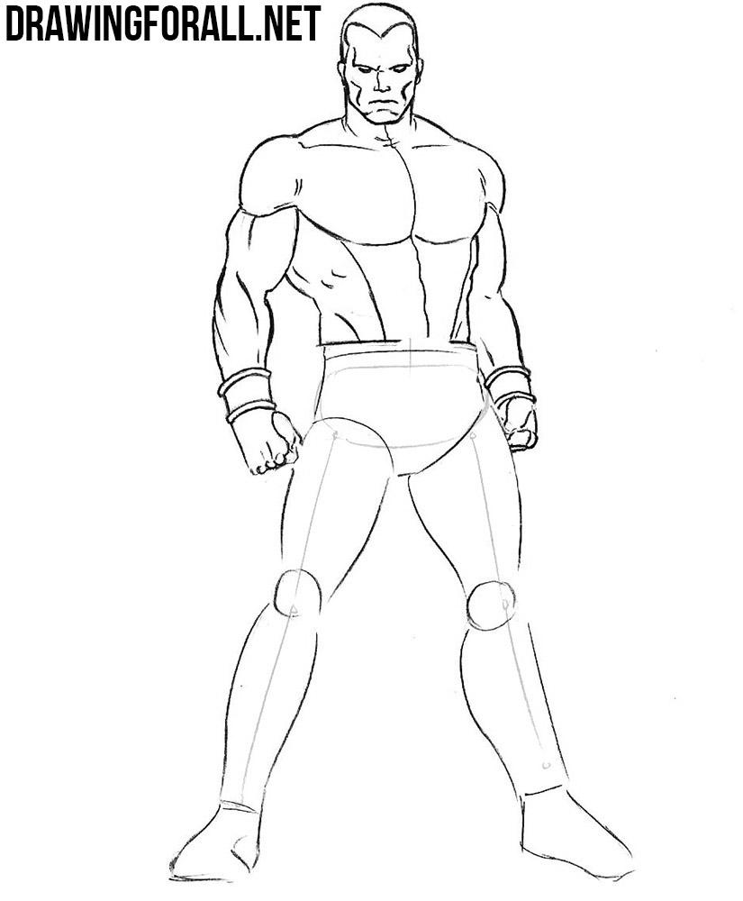 how to draw Colossus with a pencil
