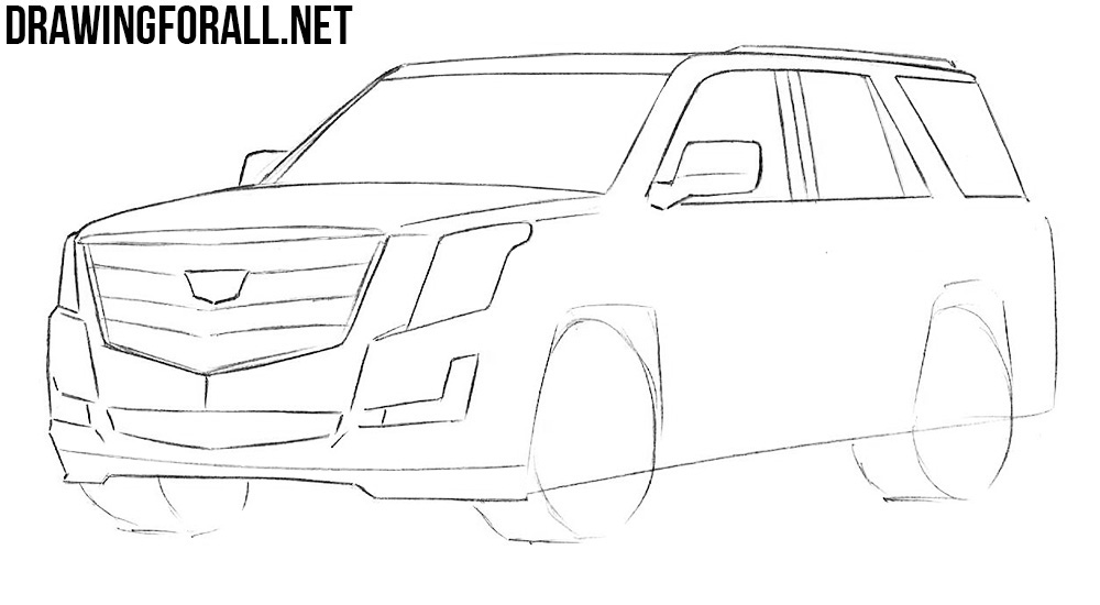 how to draw a Cadillac car