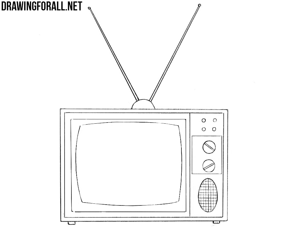 how to draw an old tv
