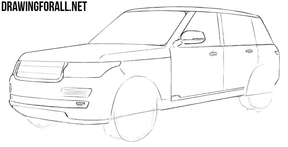 how to draw range rover with a pencil