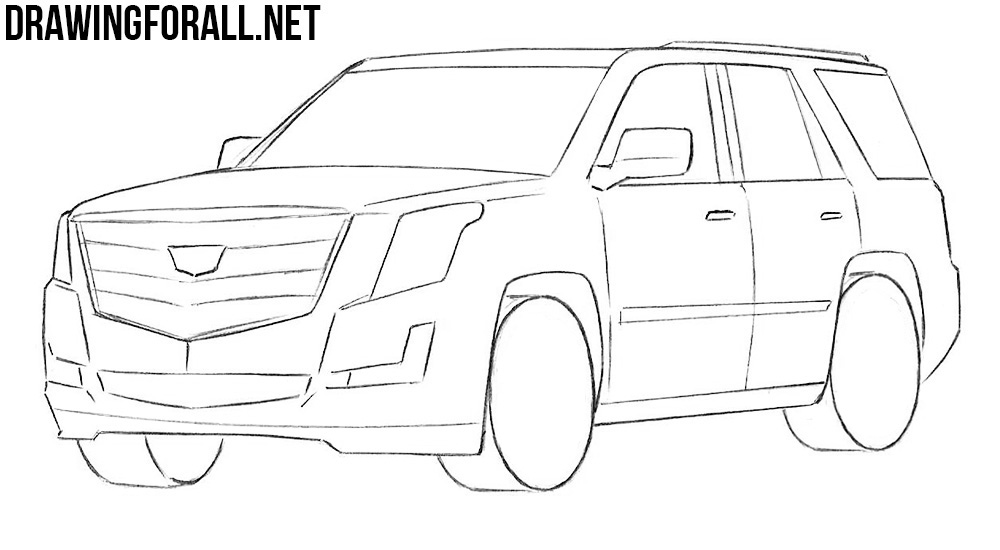 learn how to draw Cadillac Escalade step by step
