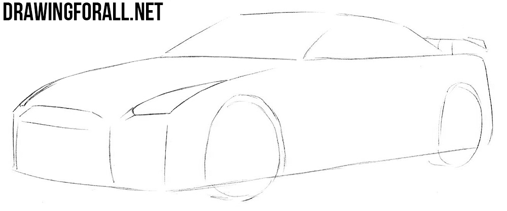 how to draw a nissan gtr