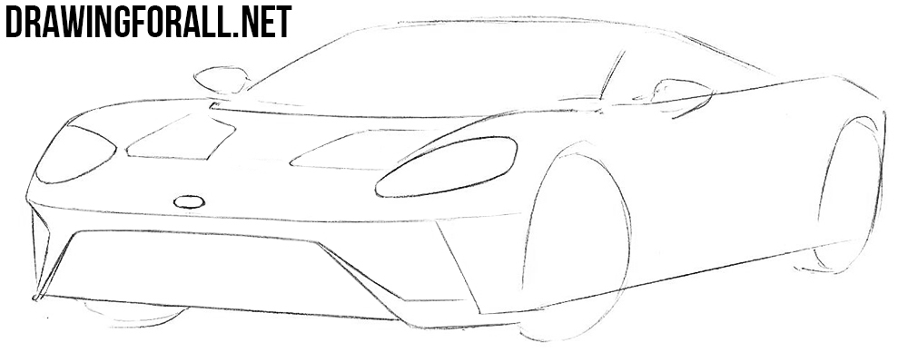 how to draw a Ford GT step by step