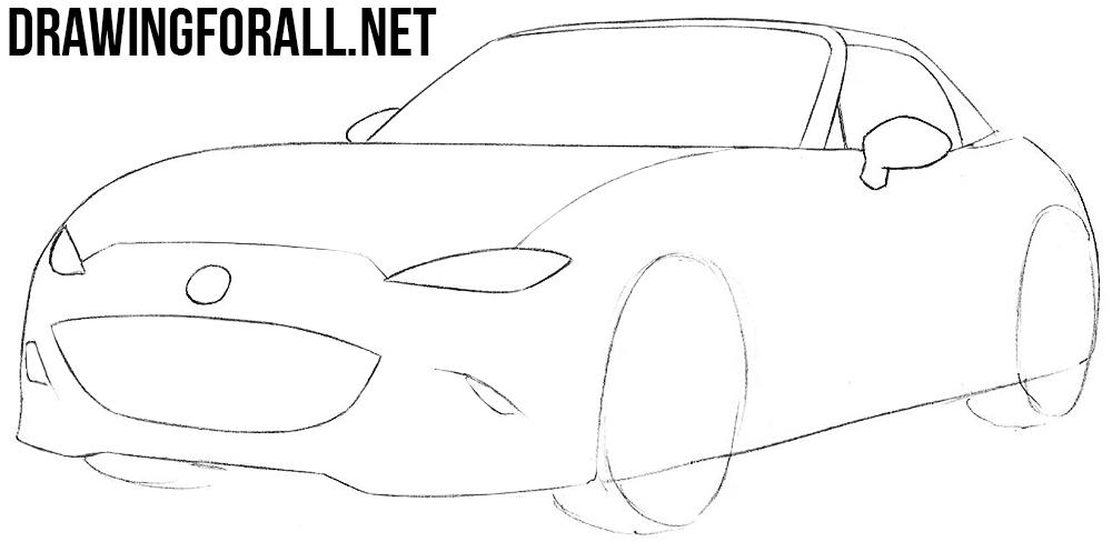 how to draw a Mazda MX-5 Miata