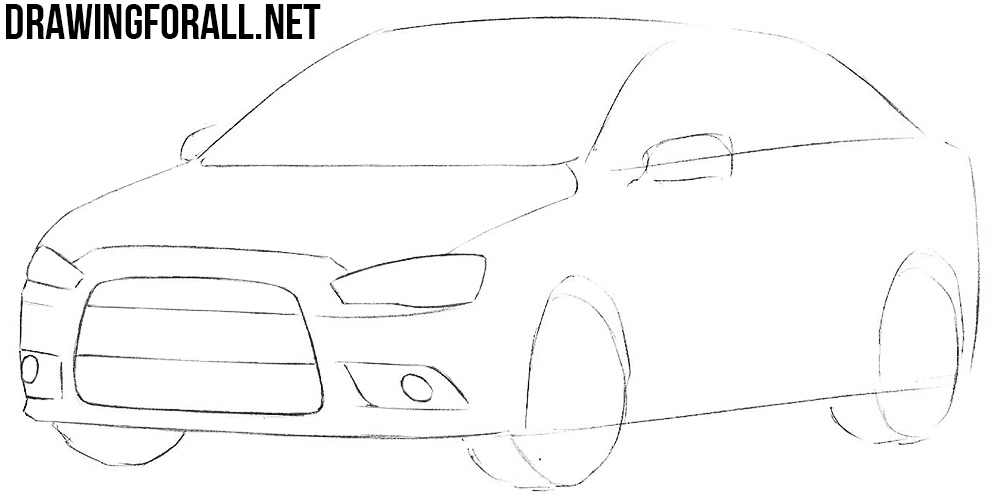 how to draw a mitsubishi lancer step by step