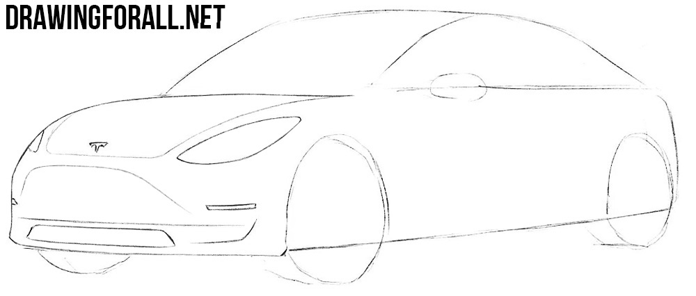 how to draw a tesla car 3
