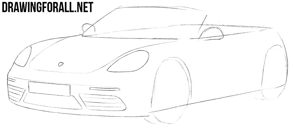 learn to draw a porsche boxster 718