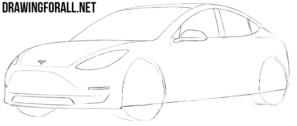 how to draw a tesla 3