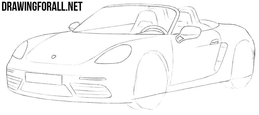 how to draw a Porsche 718 Boxster