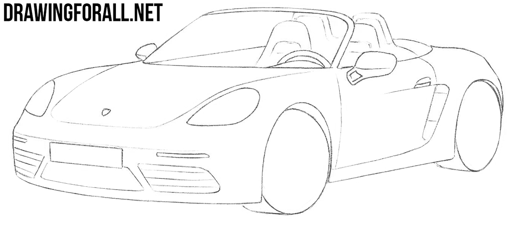 how to draw a porsche boxster step by step