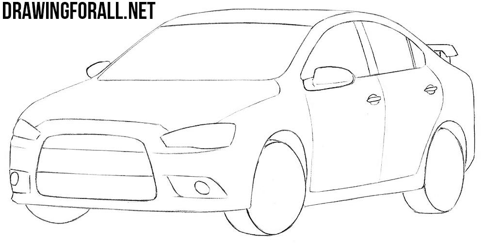 mitsubishi lancer drawing tutorial