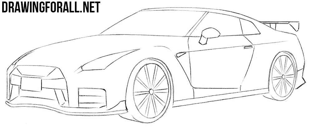 Drawing Lines R : How to draw a nissan gt r drawingforall