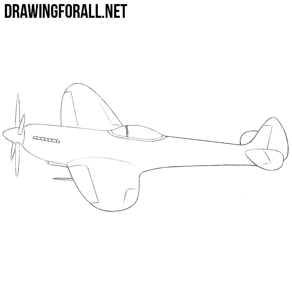 Line Drawing Airplane : How to draw a ww fighter plane drawingforall