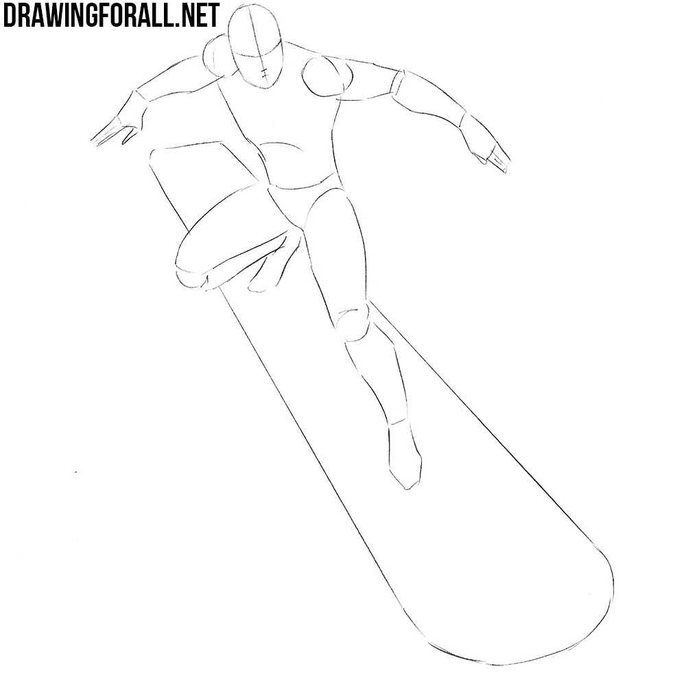 how to draw silver surfer step by step