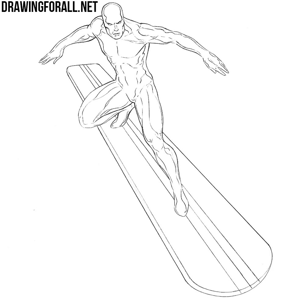 how to draw silver surfer