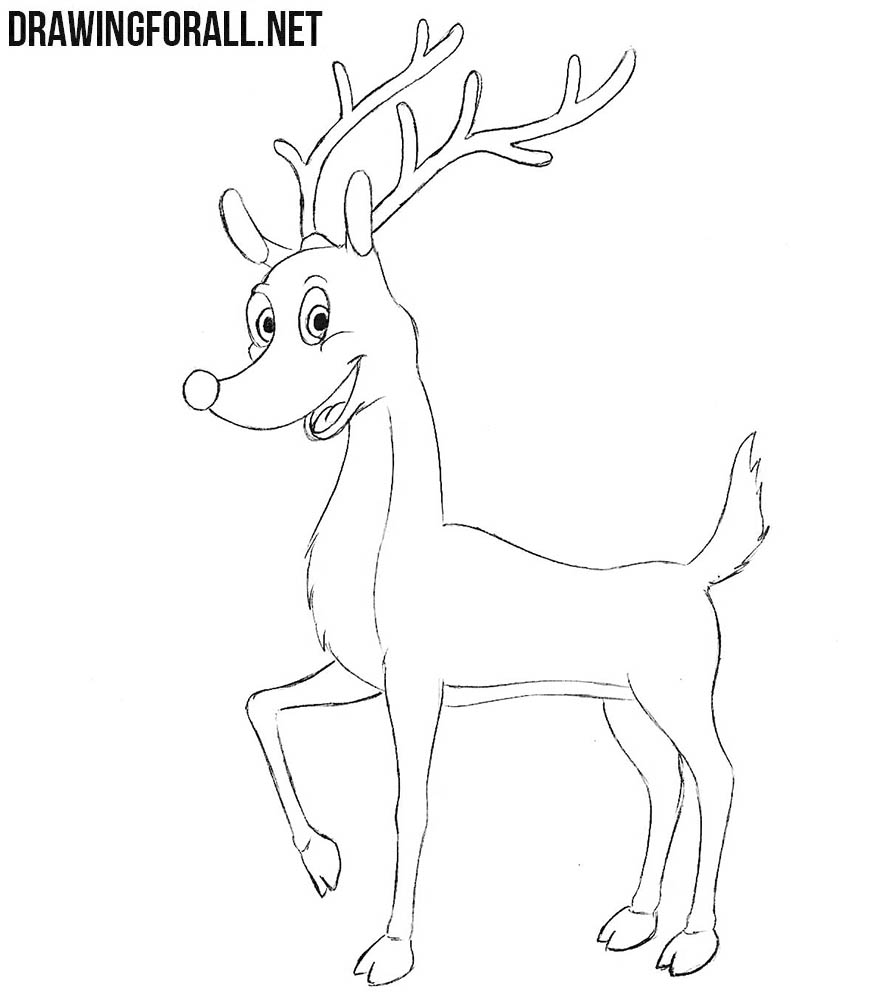how to draw rudolph the red nosed reindeer drawingforall net drawingforall net