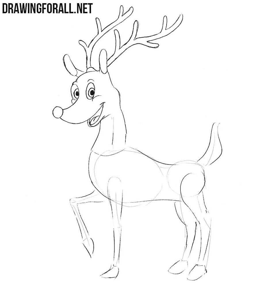 how to draw rudolph step by step