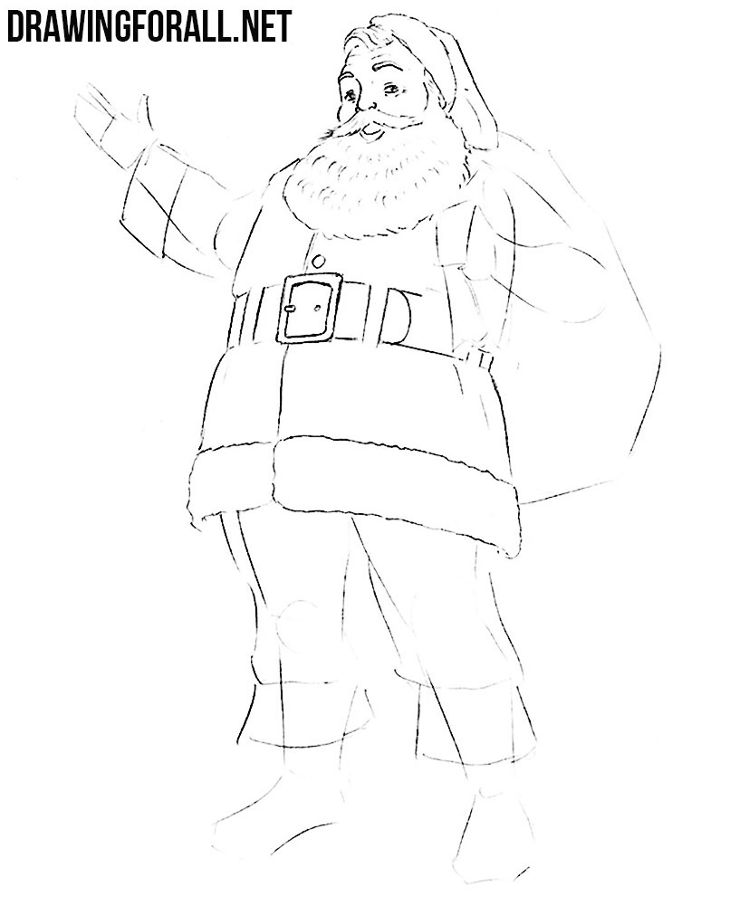 how to draw a santa face