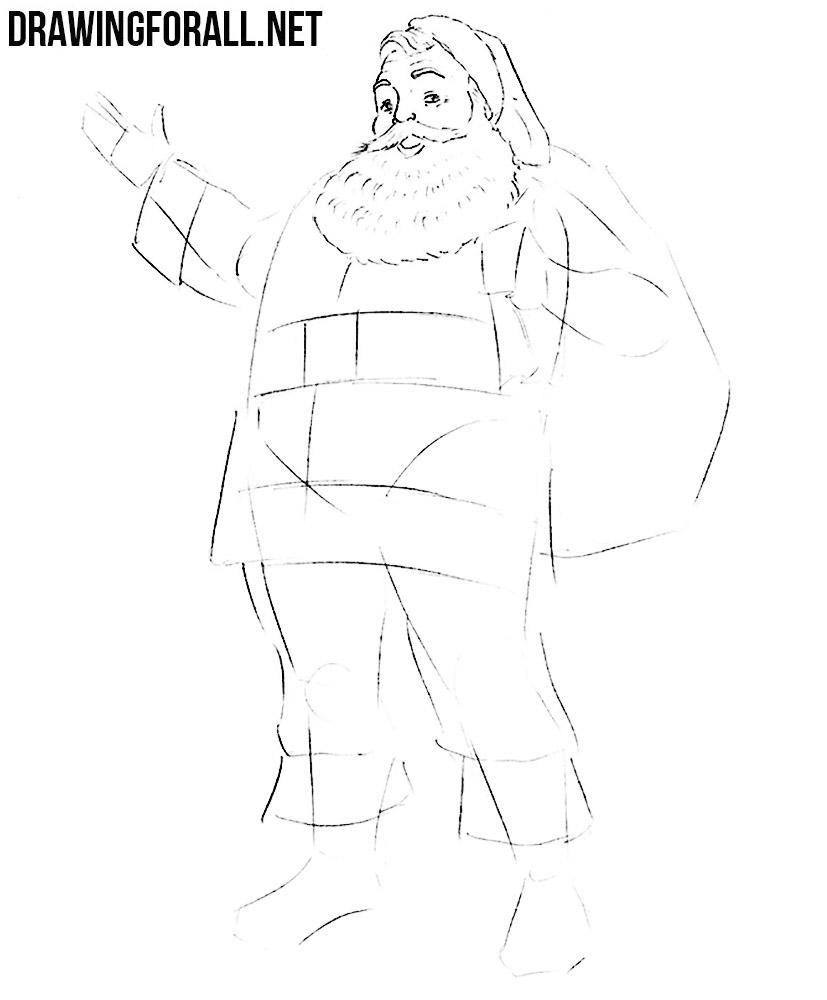 how to draw santa by pencil
