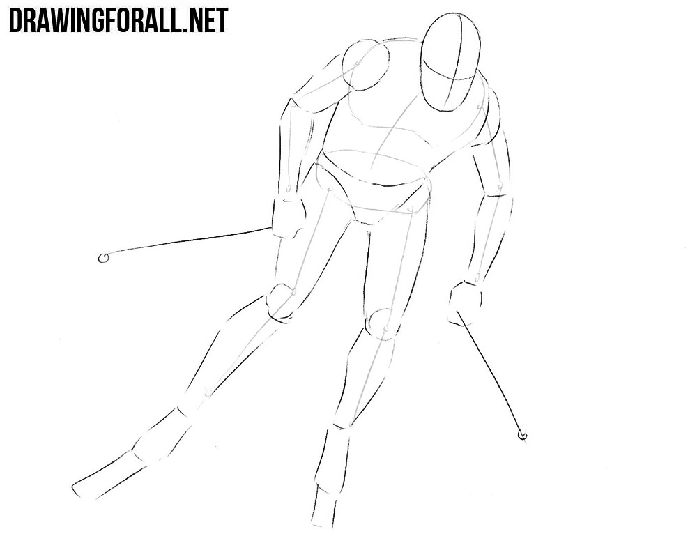 How to draw a skier step by step