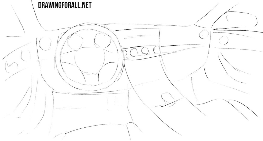 how to draw a car interior step by step