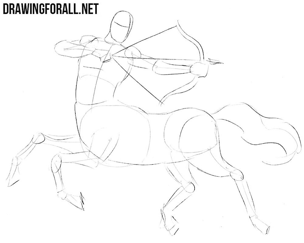 how to draw a centaur step by step