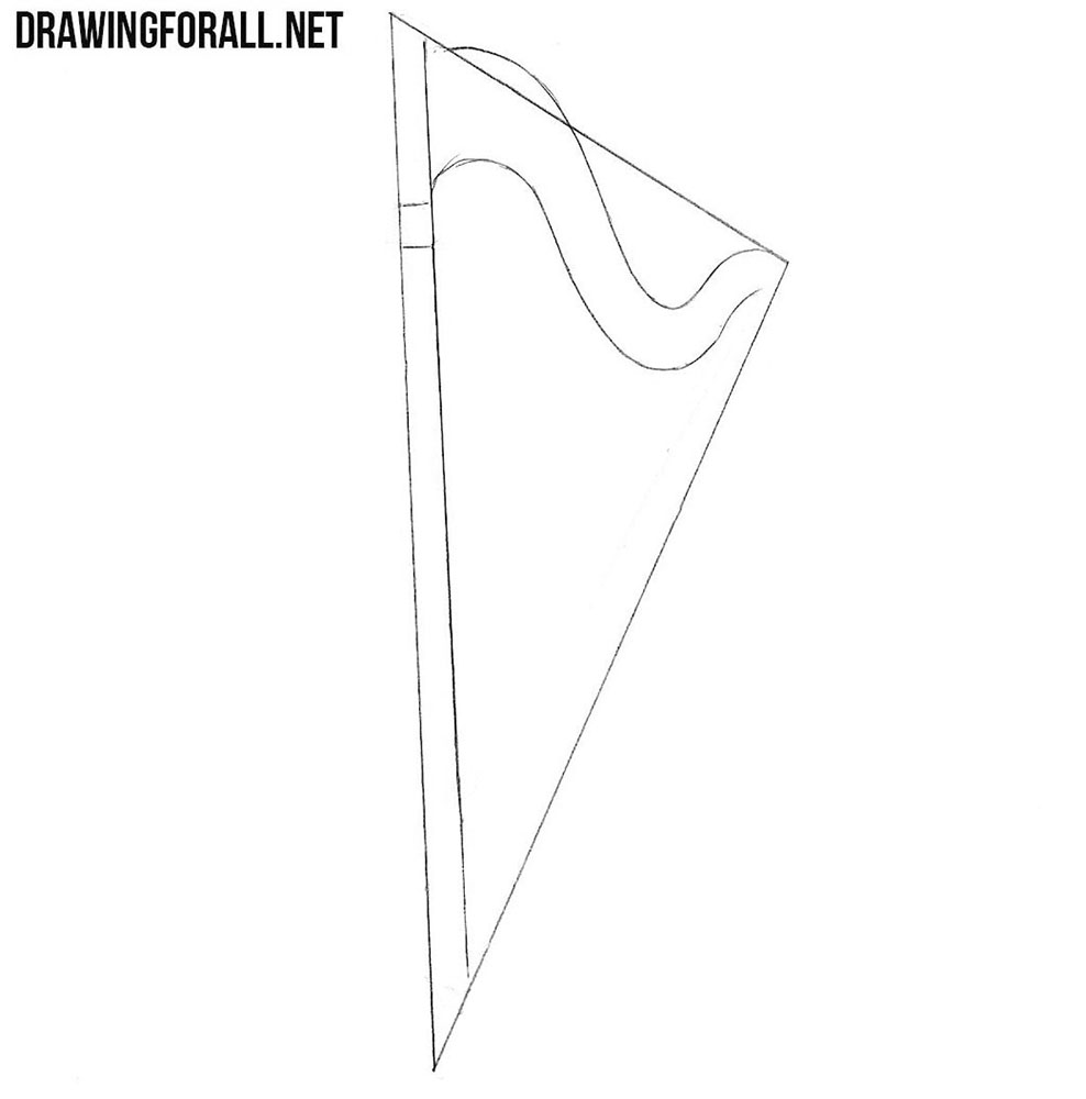 how to draw a harp step by step
