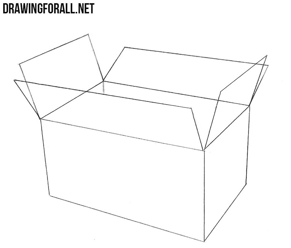 how to draw an open box