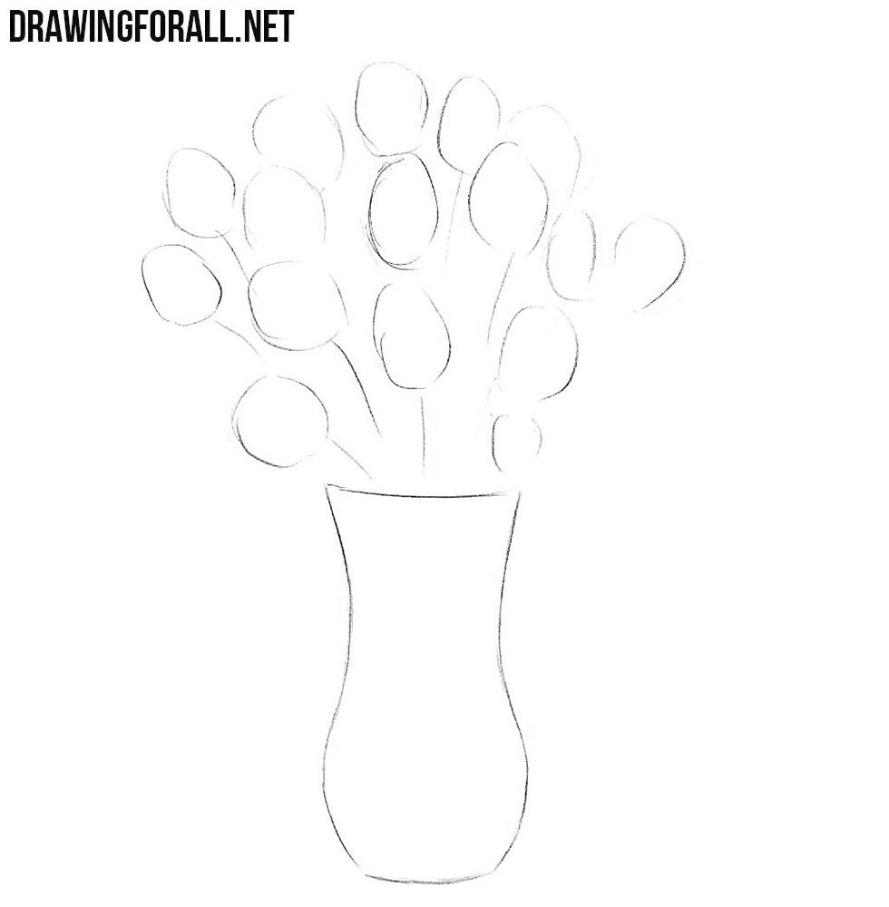 how to draw flowers in a vase easy