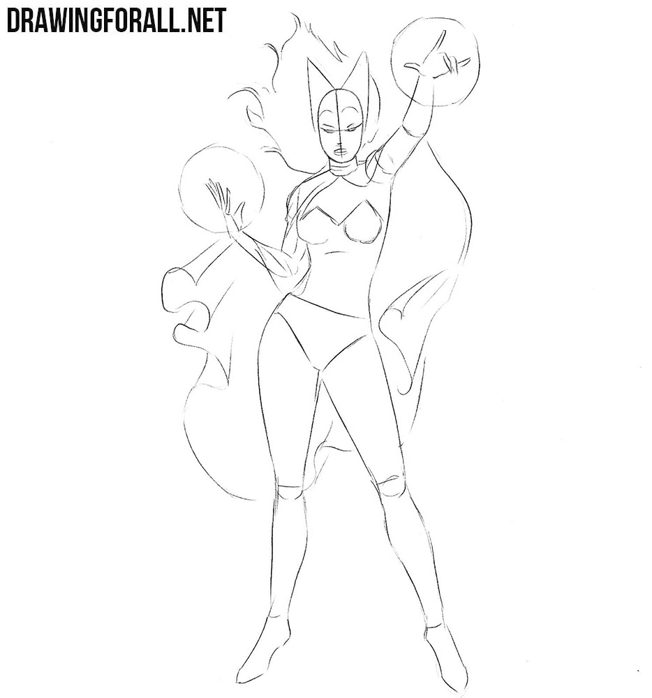 How to draw Scarlet Witch