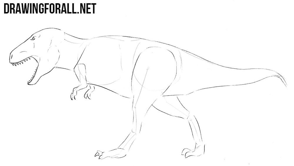 how to draw Tyrannosaurus step by step